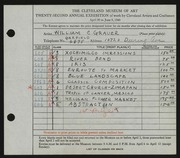 Entry card for Grauer, William C. for the 1940 May Show.