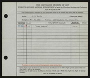 Entry card for Hardin, J. E. for the 1940 May Show.