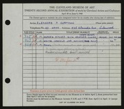 Entry card for Hartman, Eleanor P. for the 1940 May Show.