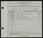 Entry card for Hazeltine, Dorothy R. for the 1940 May Show.