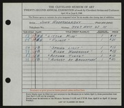 Entry card for Hodermarsky, John for the 1940 May Show.