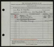 Entry card for Horton, Ann V. for the 1940 May Show.
