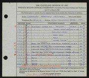 Entry card for Jeffery, Charles Bartley for the 1940 May Show.