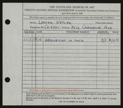Entry card for Ketler, Lester Karl for the 1940 May Show.
