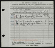 Entry card for Kingman, Alice E. for the 1940 May Show.