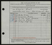 Entry card for Krall, Edwin for the 1940 May Show.