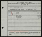 Entry card for Krusoe, William A. for the 1940 May Show.