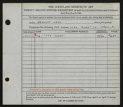 Entry card for Land, Jerome for the 1940 May Show.