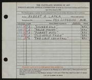 Entry card for Lapka, Albert A. for the 1940 May Show.