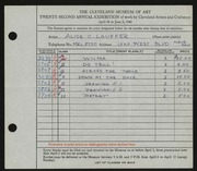 Entry card for Lawrence, Alice Lauffer for the 1940 May Show.