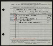 Entry card for Lawrence, Walter E. for the 1940 May Show.
