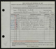 Entry card for Lee, Frank for the 1940 May Show.