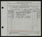 Entry card for Lindstrom, Fritz Riley, and Manning Studios, Inc. for the 1940 May Show.