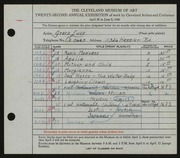 Entry card for Luse, Grace for the 1940 May Show.