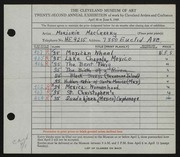 Entry card for MacCreary, Marjorie for the 1940 May Show.