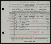 Entry card for Manning, Wray for the 1940 May Show.