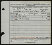 Entry card for March, John Robert for the 1940 May Show.