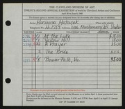 Entry card for Matousek, Mariagnes for the 1940 May Show.