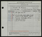 Entry card for Mayer, Henry M. for the 1940 May Show
