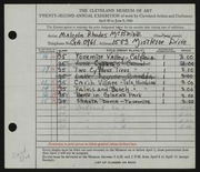 Entry card for McBride, Malcolm Rhodes for the 1940 May Show.