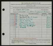 Entry card for McClean, Clara for the 1940 May Show.