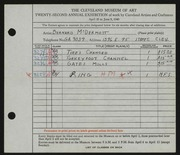 Entry card for McDermott, Bernard for the 1940 May Show.