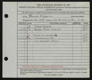 Entry card for McLelland, Ronalda for the 1940 May Show.