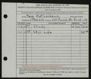 Entry card for Metzenbaum, Jane for the 1940 May Show.