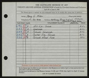 Entry card for Miller, Mary G. for the 1940 May Show.