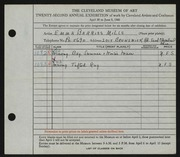 Entry card for Mills, Emma Barris for the 1940 May Show.