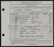 Entry card for Nepodal, Virginia for the 1940 May Show.