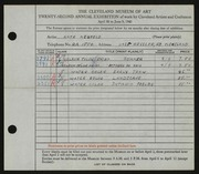 Entry card for Neufeld, Kate for the 1940 May Show.