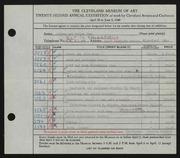 Entry card for Potter and Mellen , and Potter, Horace Ephraim; Weiser, Raymond T.; Dellert, Norman; Naukler, Henning; Riedel, Elmer; Boggs, Robert for the 1940 May Show.