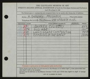 Entry card for Prusheck, Harvey Gregory for the 1940 May Show.
