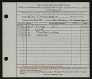 Entry card for Schoenberger, Robert E. for the 1940 May Show.