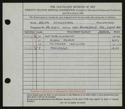 Entry card for Schulman, Anita for the 1940 May Show.