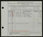 Entry card for Shaw, Glenn M. for the 1940 May Show.