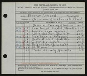Entry card for Smeed, Eleanor for the 1940 May Show.