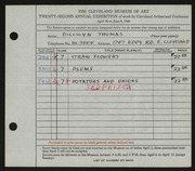Entry card for Thomas, Dillwyn for the 1940 May Show.