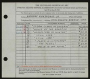 Entry card for Vaiksnoras, Anthony for the 1940 May Show.