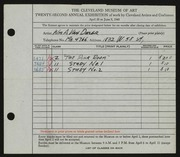 Entry card for Van Duzer, William A. for the 1940 May Show.