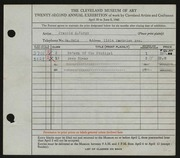 Entry card for Vargo, Francis A. for the 1940 May Show.