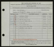 Entry card for Whitaker, Mary for the 1940 May Show.
