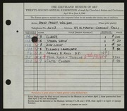 Entry card for Wilson, David Philip for the 1940 May Show.