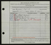 Entry card for Wyman, Carl for the 1940 May Show.