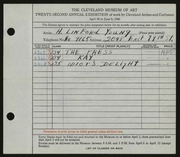 Entry card for Young, H. Linford, Jr. for the 1940 May Show.