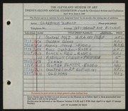 Entry card for Zuelch, Clarence E. for the 1940 May Show.