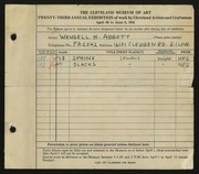 Entry card for Abbott, Wendell H. for the 1941 May Show.