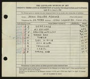 Entry card for Adams, John Squire for the 1941 May Show.