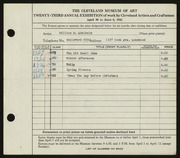 Entry card for Adelhelm, William E. for the 1941 May Show.